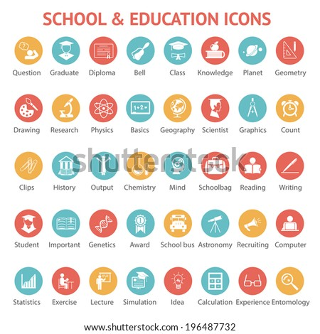Large set of 40 different colorful school   college  university and education icons on round web buttons each labeled below to show what it represents illustration - stock photo