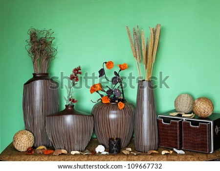 Large Set Of Home Decor Accessories With Flower Decoration