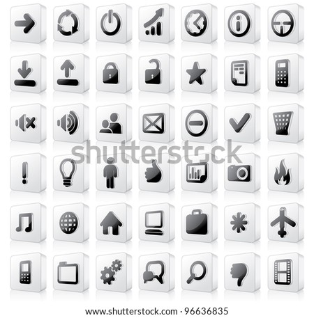 Large set of Monochrome Buttons or Interface Icons