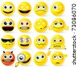 Large set of Yellow Cartoon Smileys with various emotions and gestures - detailed isolated emoticons ( vector eps version  and similar please see at my gallery ) - stock vector
