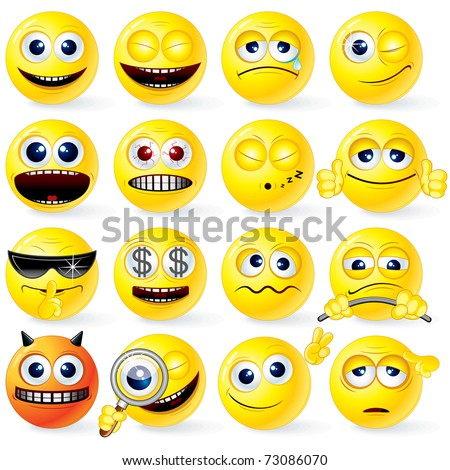 Large set of Yellow Cartoon Smileys with various emotions and gestures - detailed isolated emoticons ( vector eps version  and similar please see at my gallery ) - stock photo