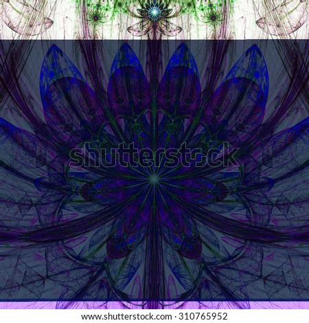 Large sharp flower background with a detailed decorative pattern and stars above it, all in high resolution and dark vivid glowing pink,purple,blue,green - stock photo