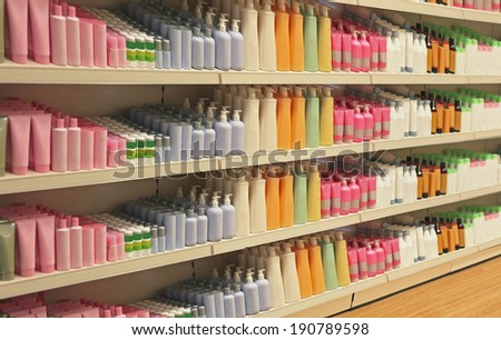 Large shelf inside retail store with cosmetic products