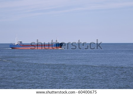Large ship in the water. - stock photo