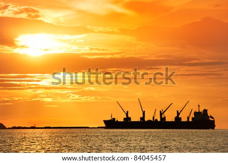 large ship on sea - stock photo