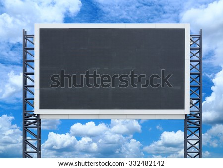 large sign board with blue sky background - stock photo