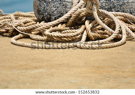 Large size boat rope used to tide boats roll together in an untidy way