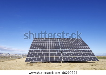 large solar panel for electric power production - stock photo