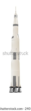 Large Space Rocket Illustration Over White - stock photo