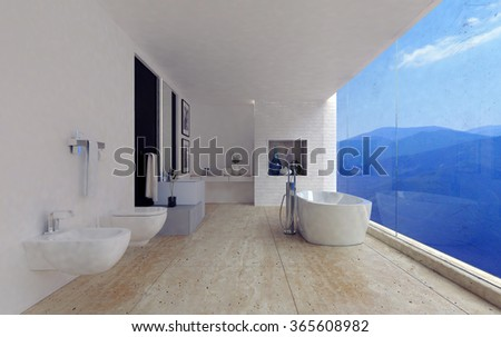 Large spacious modern bathroom interior with a stunning view of mountain ranges through a panoramic floor-to-ceiling window in a luxury home. 3d Rendering. - stock photo