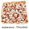 Large square pizza before cooking isolated on white - stock photo