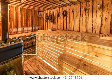 Large standard design classic wooden sauna interior.  - stock photo