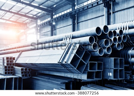 Large steel factory warehouse - stock photo