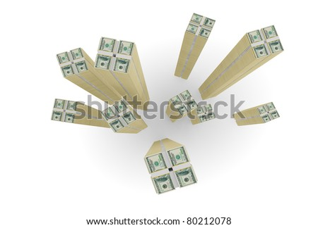 Large stocks of dollars. 3d rendered. Isolated on white background.