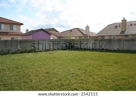 large suburban backyard - stock photo