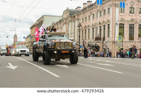 Large SUV girls on Nevsky Prospekt. St. Petersburg, Russia - 13 August, 2016. The annual parade of Harley Davidson in the squares and streets of St. Petersburg.
