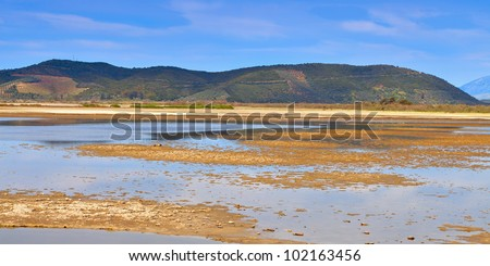 Large swamp area near Mesologgi city in Greece