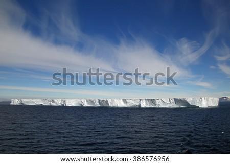 Large tabular iceberg near Hope Bay in Antarctica - stock photo