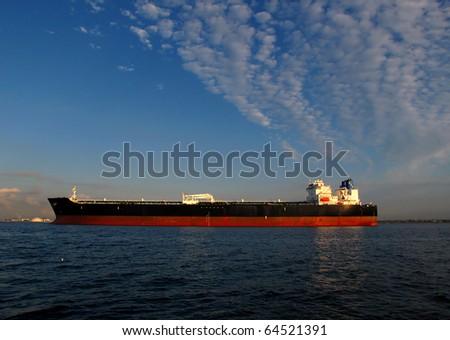 large tanker ship oil transport in los angeles harbor - stock photo