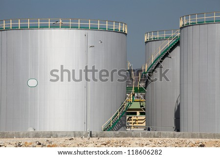 large tanks for petrol and oil - stock photo