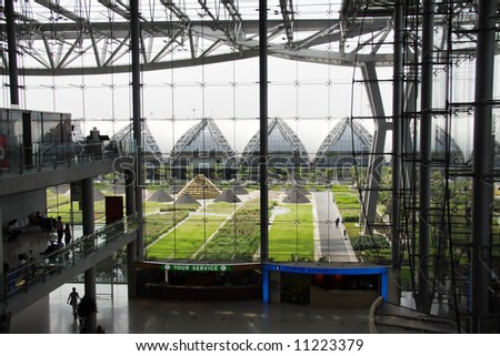 large terminal in the airport - stock photo