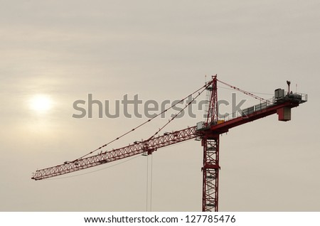 Large tower crane being used in a bridge construction project in Portland Oregon