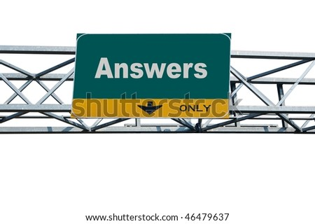 Large traffic billboard the word answers on it - stock photo