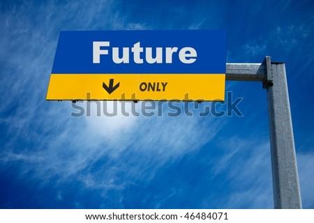 large traffic billboard the word future on it - stock photo