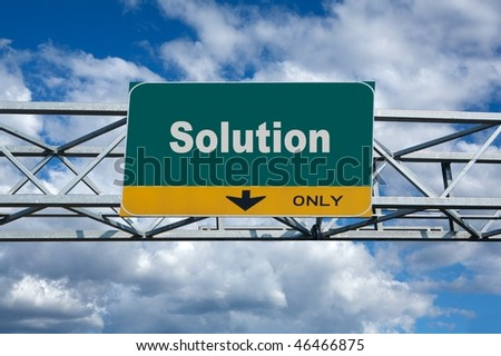 large traffic billboard the word of solution on it