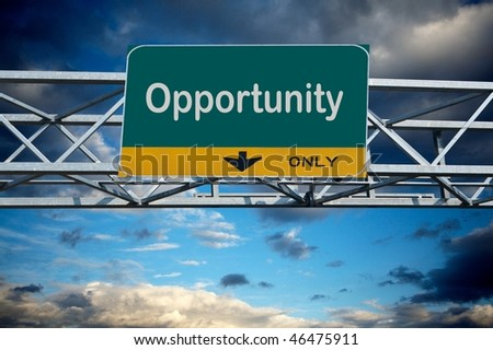 Large traffic billboard the word opportunity on it - stock photo