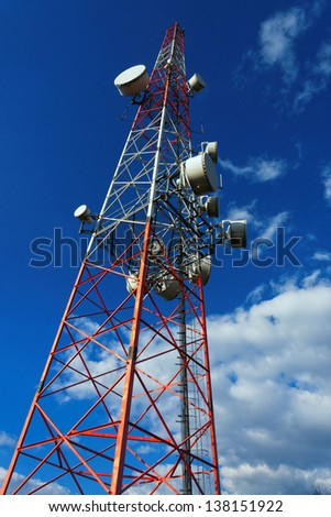 Large transmission tower against sky