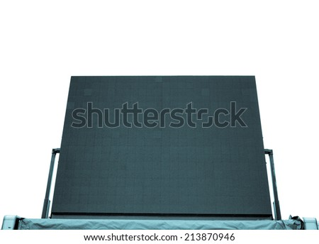 Large tv maxi screen colour display used for live gig event - isolated over white background - cool cyanotype - stock photo