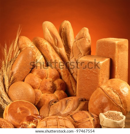 large variety of bread - stock photo