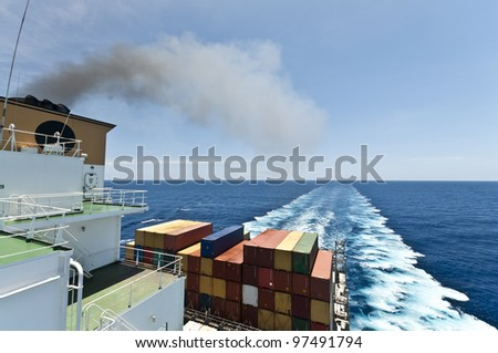 large vessel's wake - stock photo