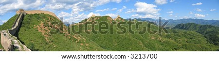 Large view of the Great Wall of China ond the mountains - China - Panorama. - stock photo