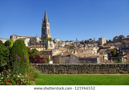Large view on Saint Emilion. Saint-Emilion is one of the principal red wine areas of Bordeaux, the wines of Saint-Emilion are respected all over the planet. - stock photo