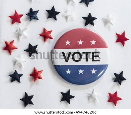 Large Vote button surrounded by red, white and blue stars