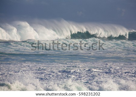 Large wave from winter swells at Hookipa, Maui. Hookipa is a beach on the north shore of Maui, Hawaii, USA.