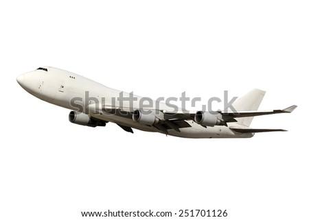 Large white plane isolated on white background - stock photo