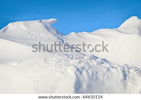 Large White Winter Snowdrift - stock photo