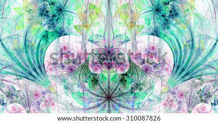 Large wide exotic abstract fractal background with decorative stars, arches and heart like shaped center, all in high resolution and light pastel blue,green,pink,purple - stock photo