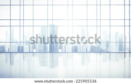 large window into white office - stock photo