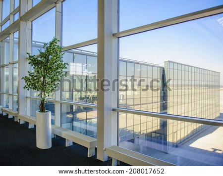 Large windows overlooking the Donetsk airport, a tree growing inside the office - stock photo