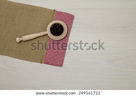 Large Wood Scoop, Measuring Cup, Artisan Kitchen Utensil, Wooden Spoon, Wood Coffee Scoop with some coffee beans / top-view photos of kitchen accessories on old cloth sack canvas with copy space  - stock photo