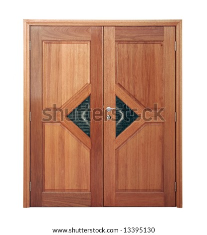 Large Wooden Door On A White Background