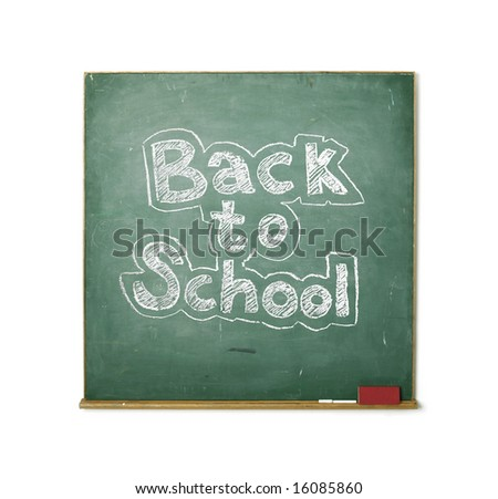 large XXL image of an old chalkboard isolated on white with the phrase Back to school written on it - stock photo