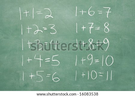 large XXL image of an old chalkboard with very extremely basic math problems and solutions
