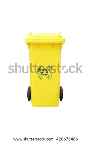 large yellow old trash with wheel on white background