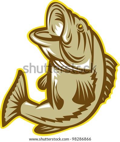 Largemouth Bass Fish Jumping Retro - stock photo