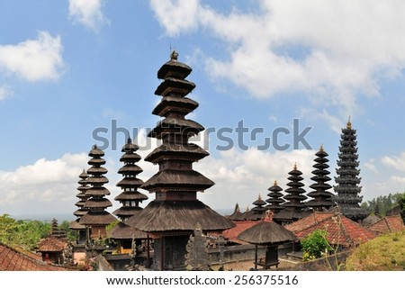 Largest Hindu temple Pura Besakih, so-called mother temple on Bali, Indonesia - stock photo